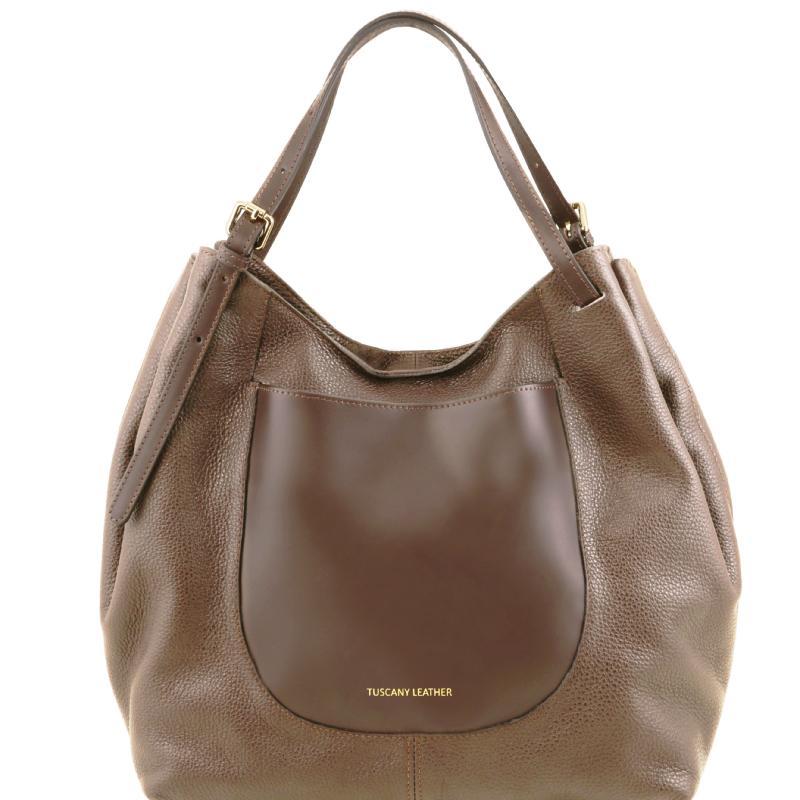 fb9ce3829a ... Γυναικεία τσάντα ώμου δερμάτινη Cinzia - Σταχτί σκούρο ...