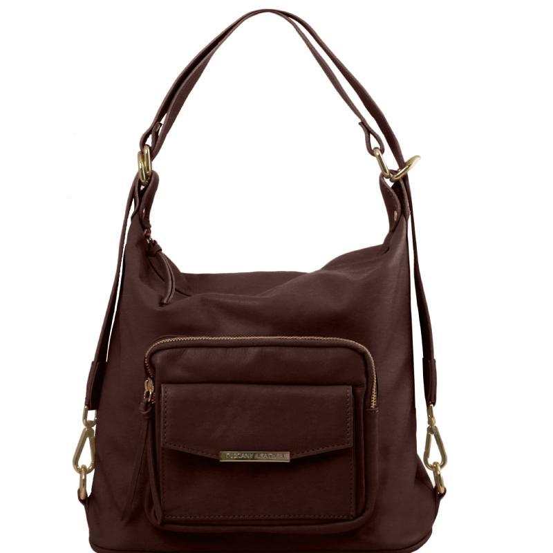 5ba358f273 ... Γυναικεία τσάντα ώμου   πλάτης δερμάτινη TL141535 - Καφέ σκούρο ...
