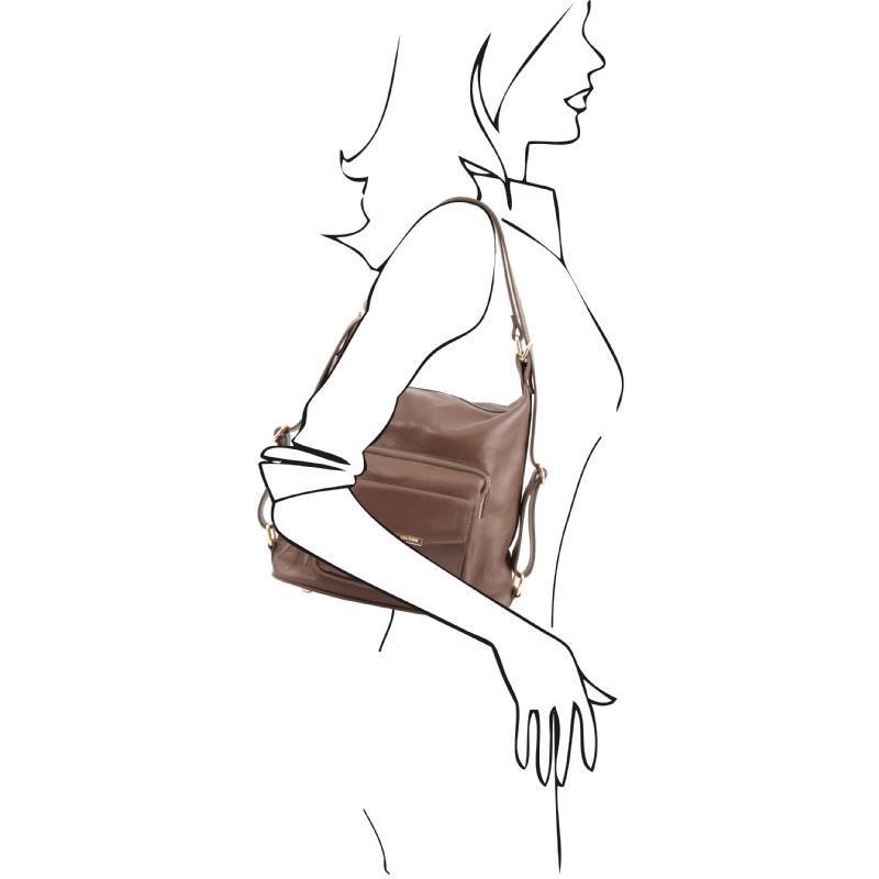 ... Γυναικεία τσάντα ώμου   πλάτης δερμάτινη TL141535 - Σταχτί σκούρο -  Μέγεθος ... 57340066728